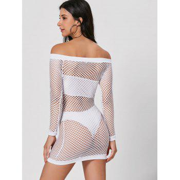 Long Sleeve Openwork Sheer Dress - WHITE XL