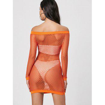 Long Sleeve Openwork Sheer Dress - S S