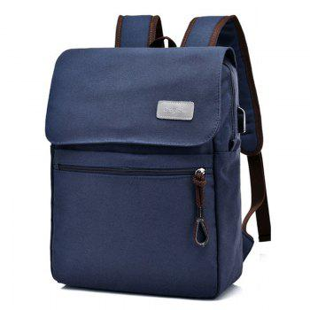 Canvas Zippers Double Pocket Backpack - Bleu