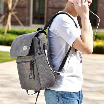 Canvas Zippers Double Pocket Backpack -  GRAY