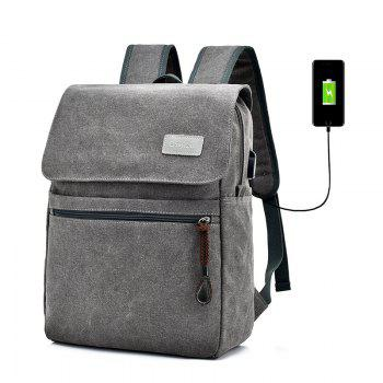Canvas Zippers Double Pocket Backpack - GRAY GRAY