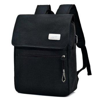 Canvas Zippers Double Pocket Backpack - BLACK