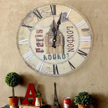Big Ben Round Wood Analog Wall Clock - BEIGE BEIGE