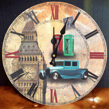 Big Ben Round Wood Analog Wall Clock - LIGHT BROWN LIGHT BROWN