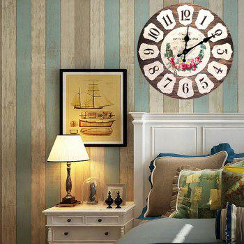Floral Round Analog Wood Wall Clock - BROWN BROWN