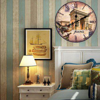 Triumphal Arch Analog Wood Round Wall Clock - ANTIQUE BROWN ANTIQUE BROWN