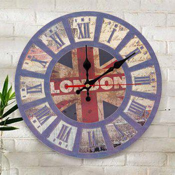 British Flag Wood Round Analog Wall Clock - BLUE 50*50CM