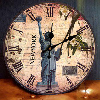 Statue of Liberty Wood Round Analog Wall Clock - ANTIQUE BROWN ANTIQUE BROWN