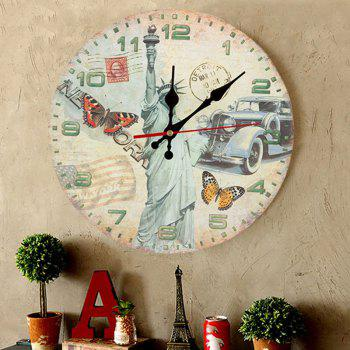 Statue of Liberty Wood Round Analog Wall Clock - BLUISH YELLOW 50*50CM