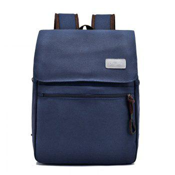 Canvas Zippers Double Pocket Backpack - BLUE