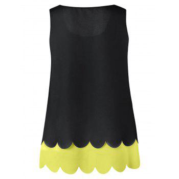Plus Size Hollow Out Scalloped Blouse - YELLOW YELLOW