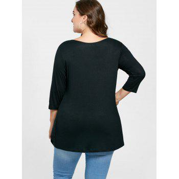 Plus Size Overlap Keyhole Top - BLACK 5XL