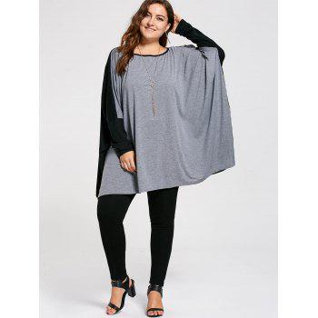 Plus Size Color Block Batwing Long Sleeve T-shirt - GRAY 5XL
