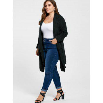Plus Size Ribbed Drape Cardigan - BLACK 5XL