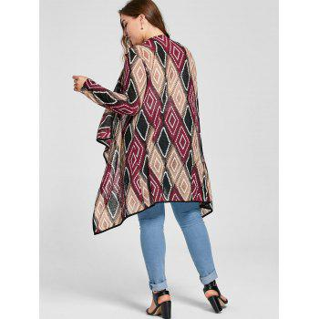 Plus Size Geometric Drape Cardigan - RED 4XL