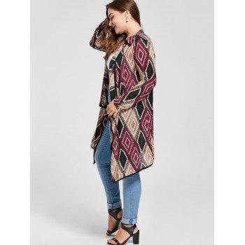 Plus Size Geometric Drape Cardigan - RED RED