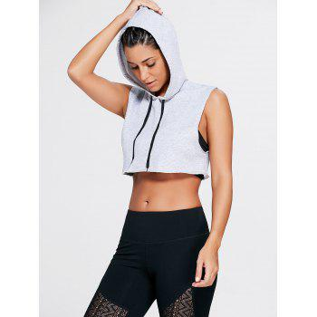 Sports Crop Hooded Tank Top - GRAY S