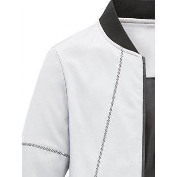 Stand Collar Zip Up Suture Panel Jacket - GRAY GRAY