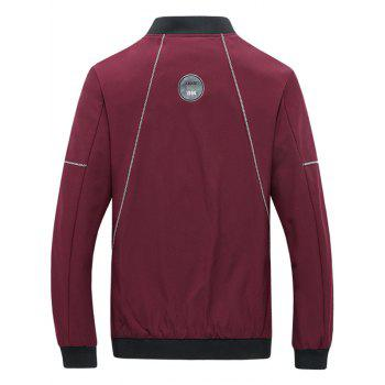 Stand Collar Zip Up Suture Panel Jacket - Rouge 4XL