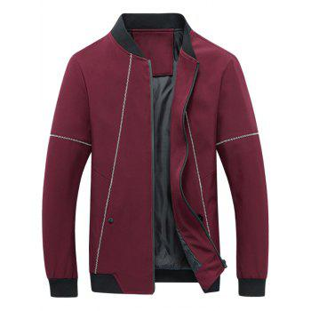 Stand Collar Zip Up Suture Panel Jacket - RED 2XL