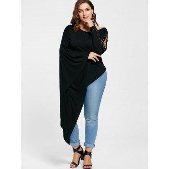 Plus Size Lace Up Batwing Sleeve Asymmetric T-shirt - 5XL 5XL