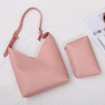 Two Pieces Leather PU Shoulder Bag Set -  LIGHT PINK