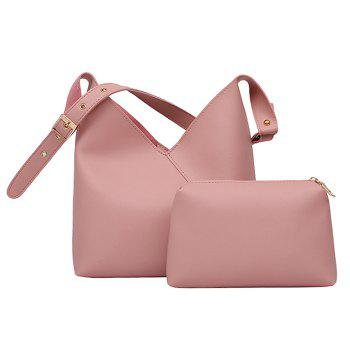 Two Pieces Leather PU Shoulder Bag Set - LIGHT PINK LIGHT PINK