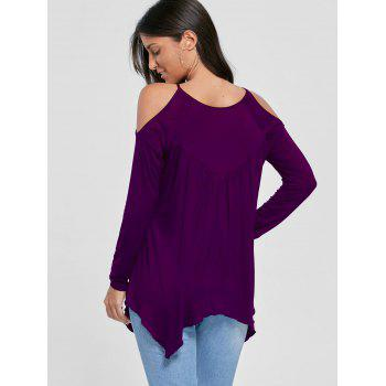 Cold Shoulder Handkerchief Top - DEEP PURPLE L
