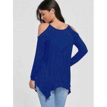 Cold Shoulder Handkerchief Top - BLUE BLUE