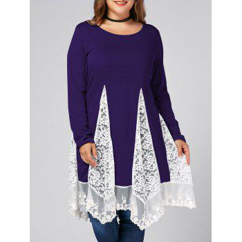 Plus Size Lace Trim Long Sleeve Swing T-shirts - PURPLE PURPLE