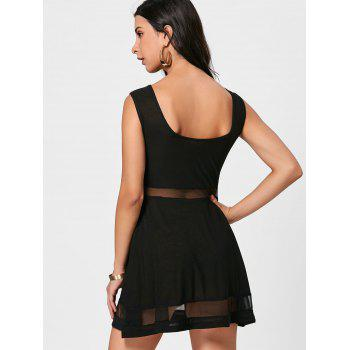Mini Mesh Insert Sheer Skater Dress - BLACK BLACK