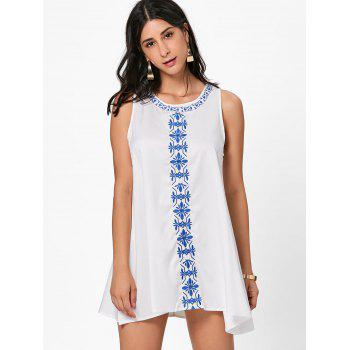 Flower Embroidered A Line Summer Dress - WHITE S