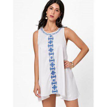 Flower Embroidered A Line Summer Dress - WHITE WHITE