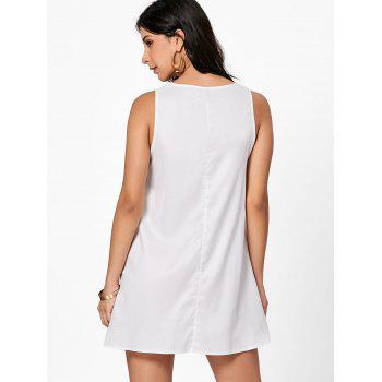 Flower Embroidered A Line Summer Dress - WHITE M