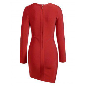 Lace-up Asymmetric Long Sleeve Bandage Dress - RED RED