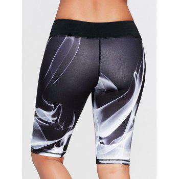 Lights Pattern Bermuda Sports Leggings - BLACK BLACK