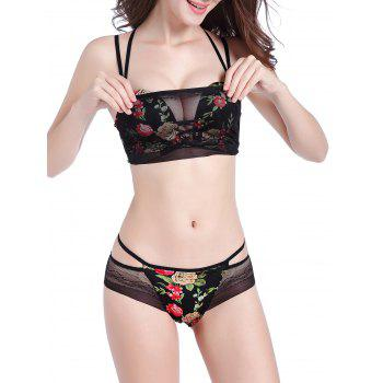 Floral Push Up Strappy Bra Set - COLORMIX COLORMIX