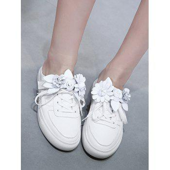 Tie Up Flowers Flat Shoes - WHITE 37