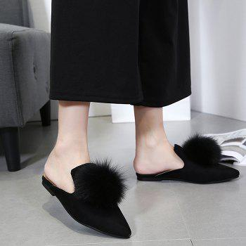 Pompon Pointed Toe Slippers - BLACK BLACK