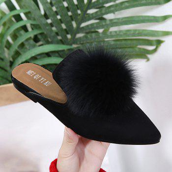 Pompon Pointed Toe Slippers - BLACK 39