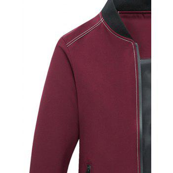 Stand Collar Applique Zip Pocket Jacket - RED RED