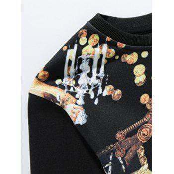 3D Gold Graphic Print Long Sleeve Sweatshirt - BLACK BLACK