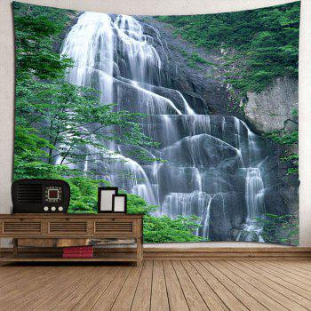 Waterproof Hanging Wall Decor Waterfall Printed Tapestry - GREEN GREEN
