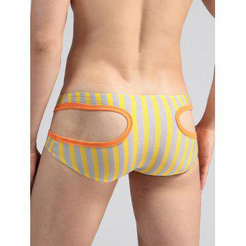 Hollow Out U Pouch Stripe Briefs - YELLOW YELLOW