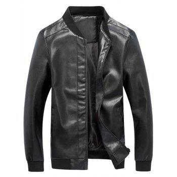Rib Panel Faux Leather Zip Up Jacket - BLACK BLACK