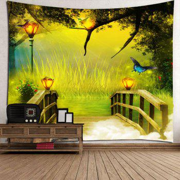 Wonderland forest Wooden Bridge Waterproof Hanging Tapestry - GREEN GREEN
