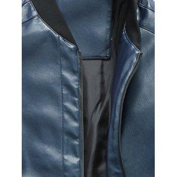 Rib Panel Faux Leather Zip Up Jacket - BLUE BLUE