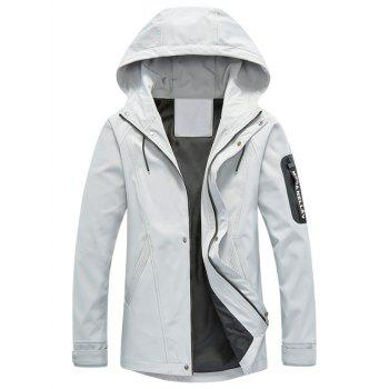 Hooded Drawstring Graphic Braid Jacket - GRAY GRAY