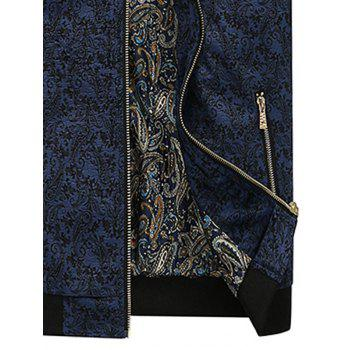 Zip Up PU Leather Panel Floral Velvet Jacket - BLUE BLUE
