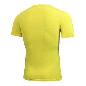 Stretchy Fitted Short Sleeve Gym T-shirt - YELLOW YELLOW
